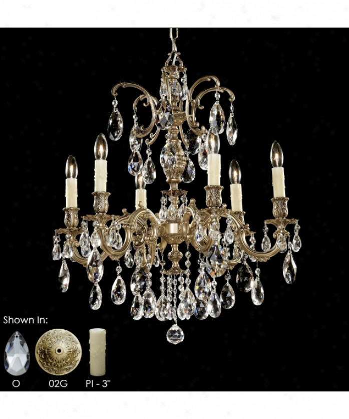 American Brass And Cryxtal Ch9713-o-01g-pi Marlena 6 Light Single Tier Chandelier In Polished Brass With Umber Inlay With Clear Precision Teardrop Crystal