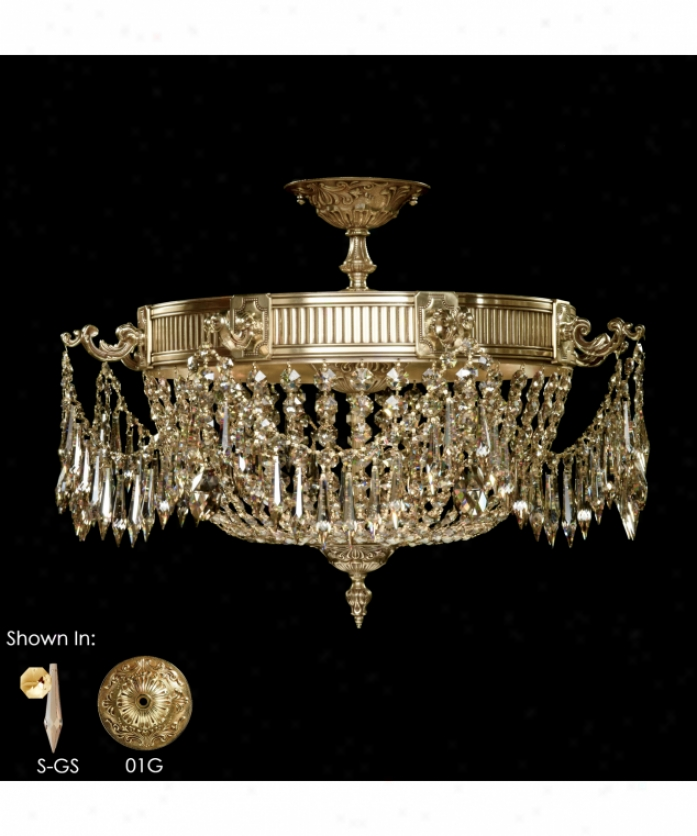 American Brass Ans Crystal Fm8012-p-01g Valencia 8 Light Flush Mount In Polished Assurance With Umber Inlay With Clear Precision Crystal