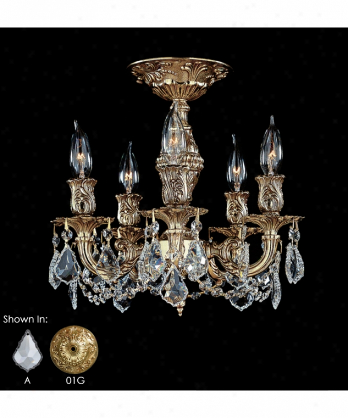 American Brass And Crystal Fm9501-as-gt-04g Rosetta 5 Light Flush Mount In nAtique White Glossy With Golden Teak Strass Pendalogue Crystal