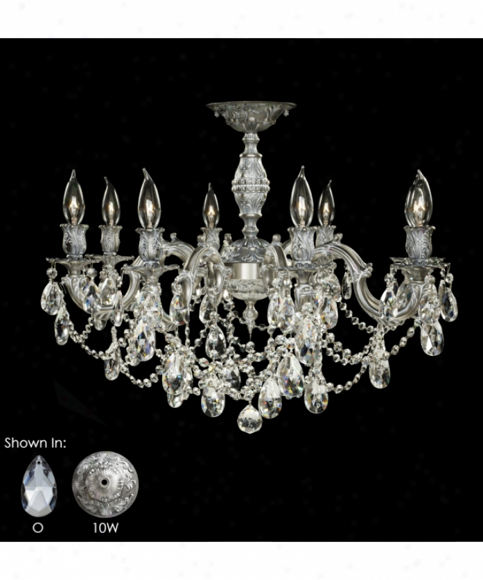 American Brass And Crystal Fm9541-a-03g Rosetta 8 Light Flush Mount In French Gold Glosay With Clear Precision Pendalogue Crystal