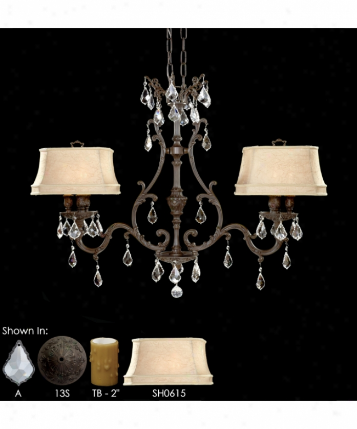 American Brass And Crystal Il9662-o-01g-sh0515-st 9660 Series 6 Light Island Lkght In Pokished Brass With Umber Inlay With Clear Precision Teardrop Crystal