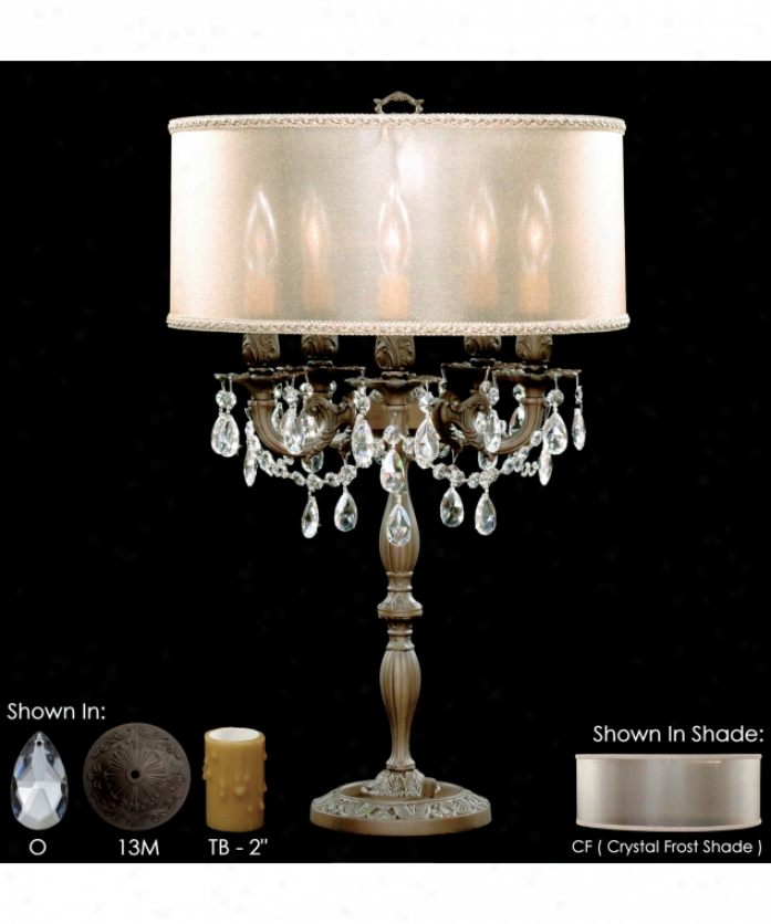 American Brass And Crystal Tl6505-a-01g-st-pg Llydia 5 Light Table Lamp In Polished Brass With Umber Inlay With Clear Precision Pendalogue Crystal