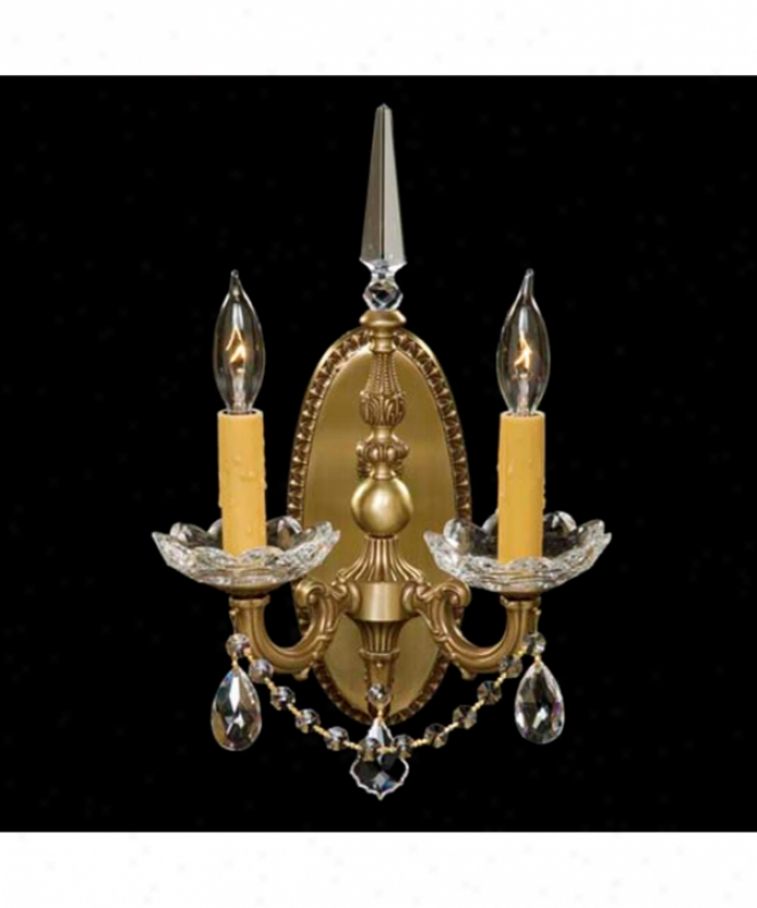 American Brass And Crystal Ws9372-o-02g-pi Venetian 2 Light Wall Sconce In Antique Black Smooth and shining With Clear Precksion Teardrop Crystal