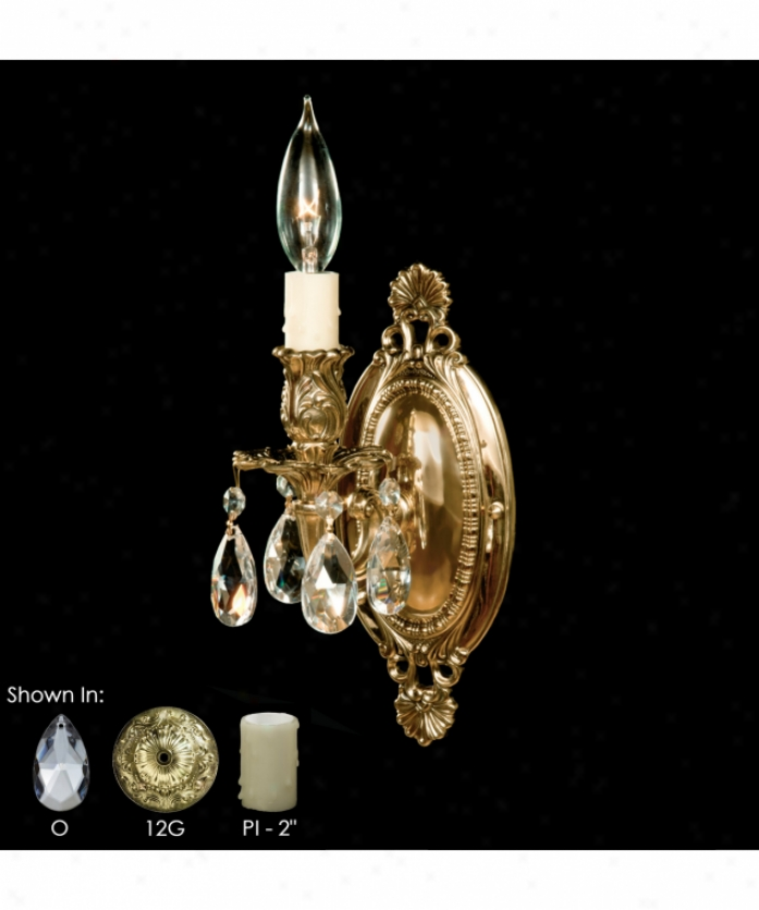 American Brass And Crystal Ws9411-o-08g-pi 9400 Series 1 Light Wall Sxonce In Silver With Clear Precision Teardrop Crystal