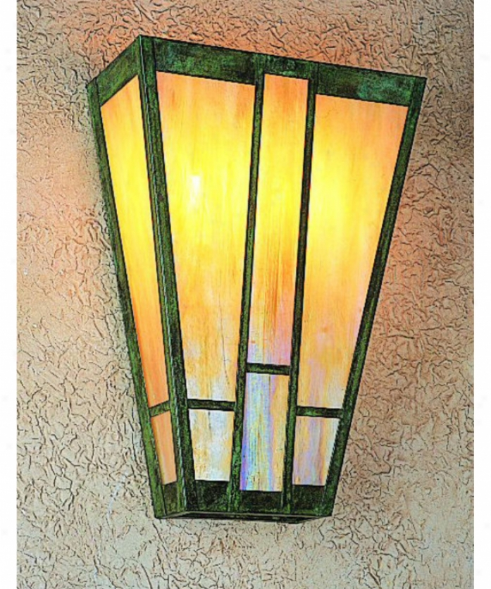 Arroyo Craftsman As-16-mc-mb Asheville 2 Light Wall Sconce In Mission Brown With Amber-almond Mica Combination Glass