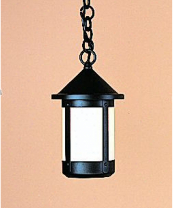 Arriyo Craftsman Bh-6-am-bk Berkeley 1 Light Outdoor Hanging Lantern In Satin Black With Almond Mica Glass