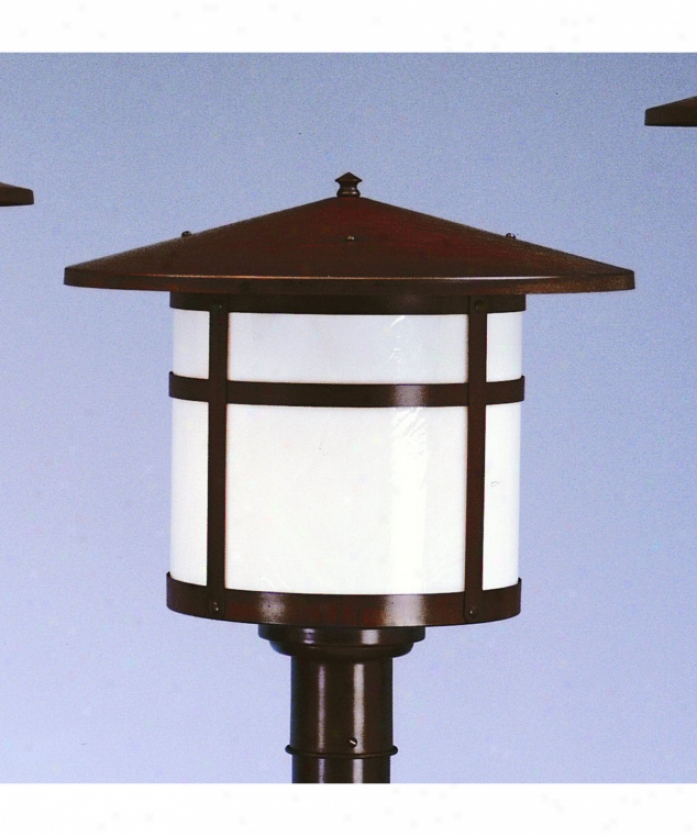 Arroyo Craftsman Bp-17-gw-rc Berkeley 1 Light Outdoor Post Lamp In Raw Copper With Gold White Iridescent Glass
