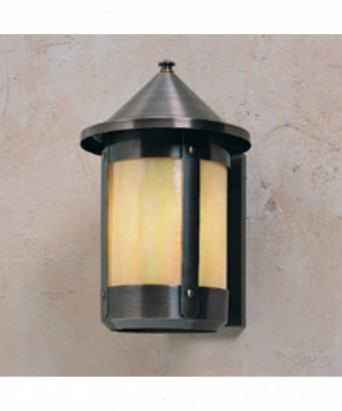 Arroyo Artisan Bs-8r-gw-bk Berkeley 1 Light Outdoor Wall Light In Satin Black With Gold White Rainbow-like Glass