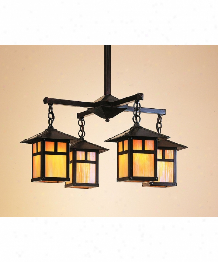 Arroyo Craftsman Ech-12-4pf-m-rb Evergreen 4 Light Single Tier Chandelier In Rustic Brown With Amber Mica Glass