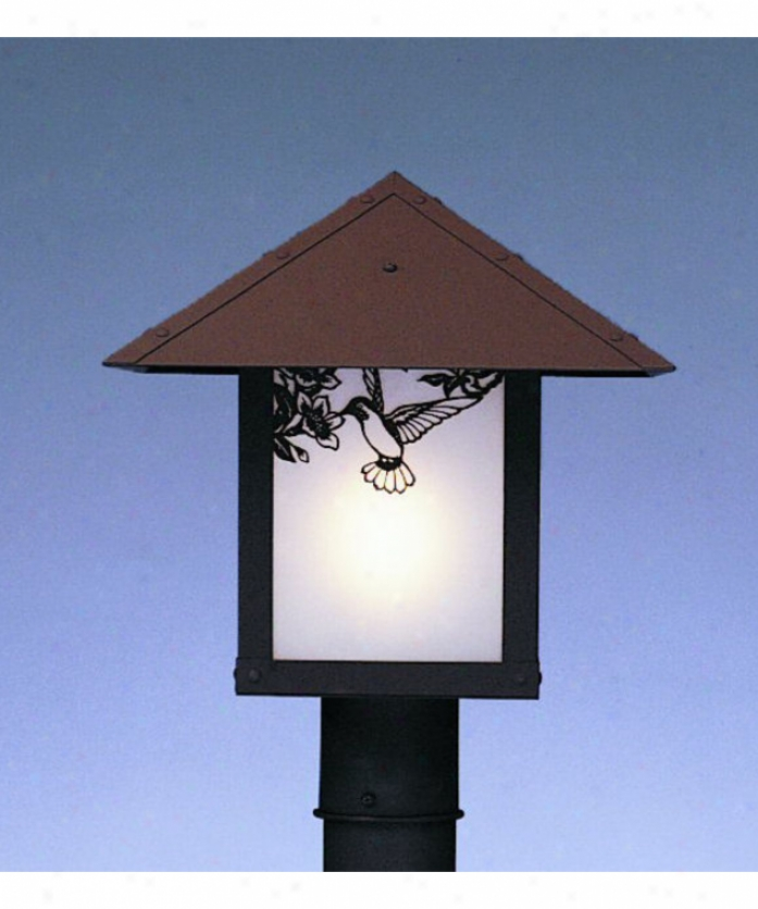 Arroyo Craftsman Ep-16hf-wo-mb Evergreen 1 Light Outdoor Post Lamp In Mission Brown With White Opalescent Glass