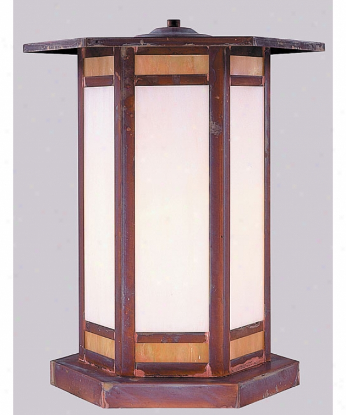 Arroyo Craftsman Etc-9-gwc-bk Etoile 1 Light Outdoor Pier Lamp In Satin Black With Gold White Iridescent-white Opalescent Combination Glass