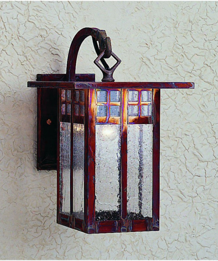 Arroyo Craftsman Gb-6l-rec-vp Glasgow 1 Light Exterior Wall Light In Verdigris Patina With Red-white Opalescent Combination Glass