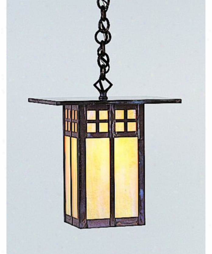 Arroyo Craftsman Gh-9-gwc-s Glasgow 1 Light Outdoor Death by the halter Lantern In Slate With Gold White Iridescent-white Opalescent Combination Glass