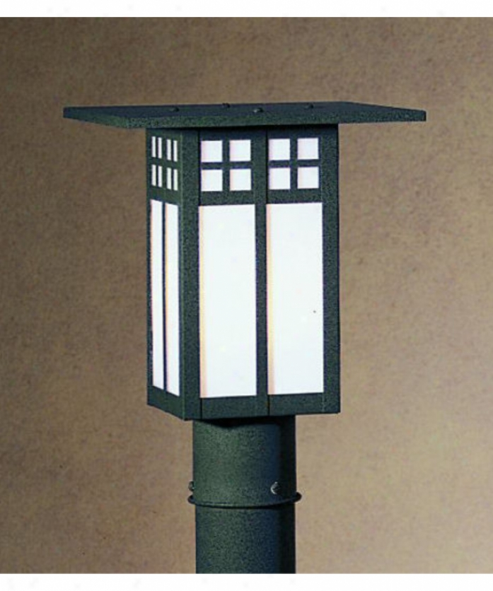 Artoyo Artisan Gp-9-gwc-s Glasgow 1 Light Outdoor Post Lamp In Slate With Gold White Iridescent-white Opalescent Combination Glaws