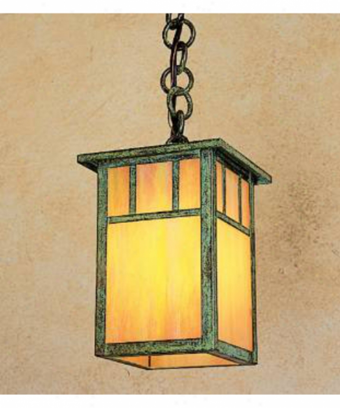 Arroyo Craftsman Hh-4la-gw-rc Huntington 1 Light Outdoor Death by the halter Lantern In Raw Coppr Through  Gold White Iridescent Glass