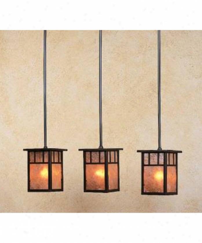Arroyo Craftsman Hich-4l-3dt-gw-vp Huntington 3 Light Island Light In Verdigris Patuna With Gold White Iridescent Glass