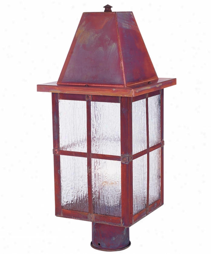 Arroyo Craftsman Hp-6-gw-vp Hartford 1 Light Outdoor Post Lamp In Verdigris Patina With Gold White Rainbow-like Glass