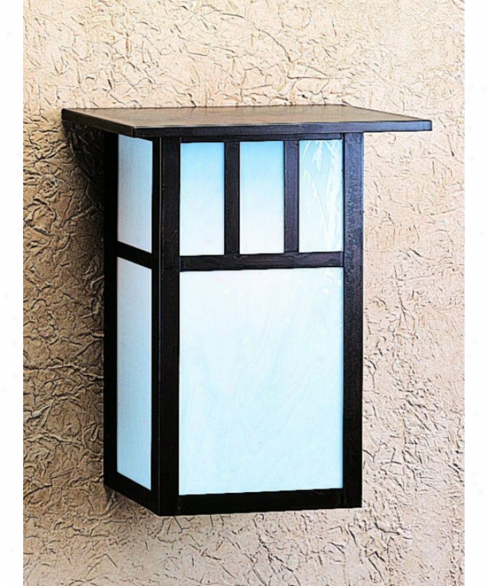 Arroyo Artisan Hs-12a-gw-vp Huntington 1 Kindle Outdoor Wall Light In Verdigris Patina With Gpld White Ifidescent Glass