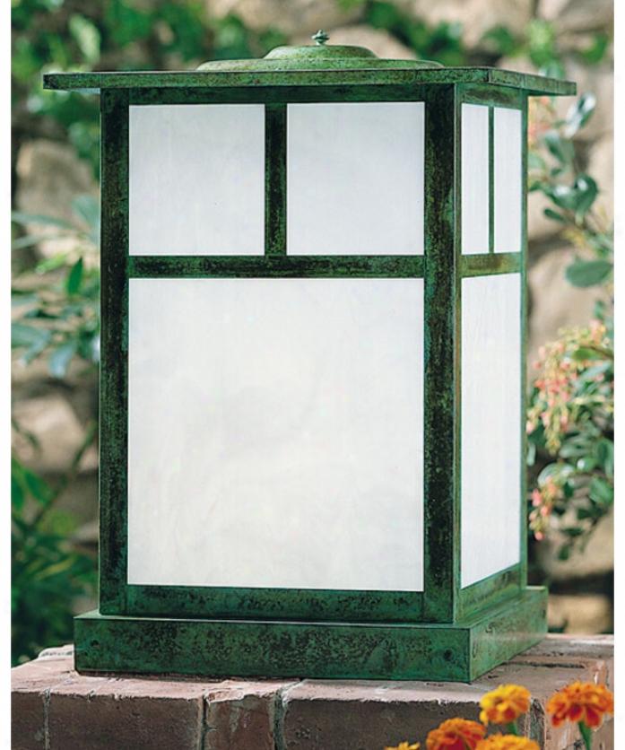 Arroyo Craftsman Mc-15t-gw-bk Missioh 1 Light Outdoor Pier Lamp In Satin Black With Gold White Irideecent Glass