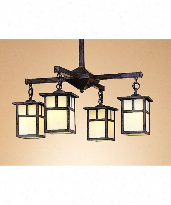 Arroyo Craftsman Mch-15-4e-wo-mb Mission 4 Light Single Tier Chandelier In Mission Brown With White Iridescent Glass