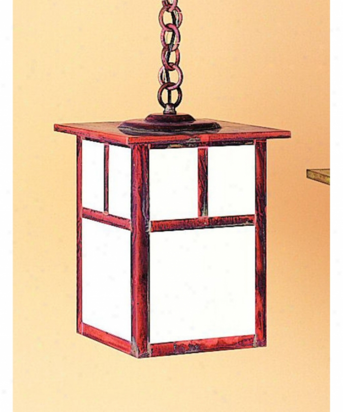 Arroyo Craftsman Mh-10t-gw-rb Mission 1 Light Outdoor Hanging Lantern In Rustic Brown With Gold White Iridescent Glass