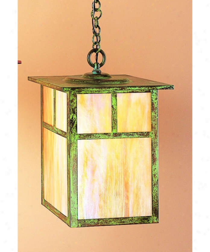 Arroyo Craftsmam Mh-15e-gw-bk Mission 1 Loose Outdooor Hanging Lantern In Satin Black With Gold White Iridescent Glass
