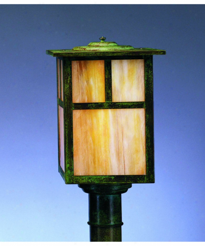 Arroyo Cratfsman Mp-10e-gw-rb Mission 1 Light Outdoor Post Lamp In Rustic Brown Attending Gold White Iridescent Glass
