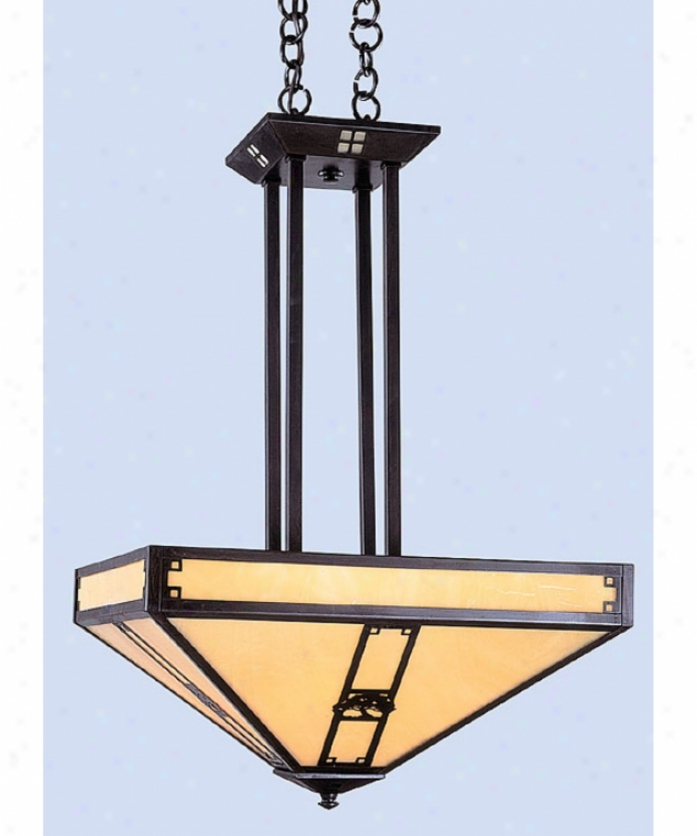 Arroyo Craftsman Pcch-16e-gw-mb Pasadena 4 Light Ceiling Pendant In Com~ Brown With Gold White Iridescent Glass