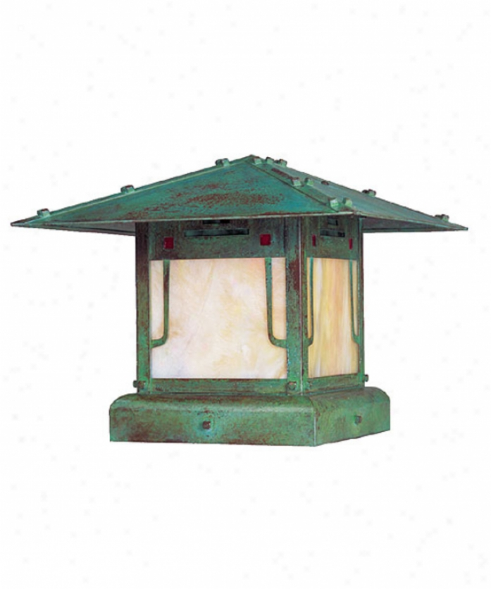 Arroyo Craftsman Pdc-9-grc-bk Pagda 1 Light Outdoor Pier Lamp In Satin Black By the side of Red-green-gold White Iridescent Combination Glass