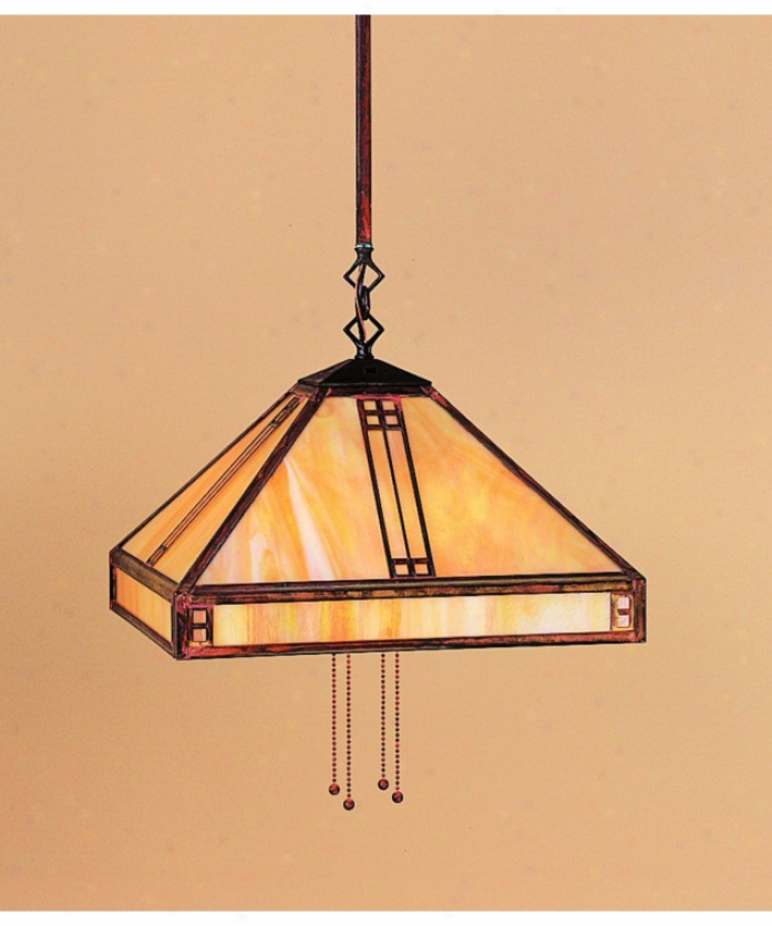 Arroyo Craftsman Psh-15-gw-vp Prairie 4 Gay Ceiling Pendant In Verdigris Patins With Gold White Iridescent Glasw