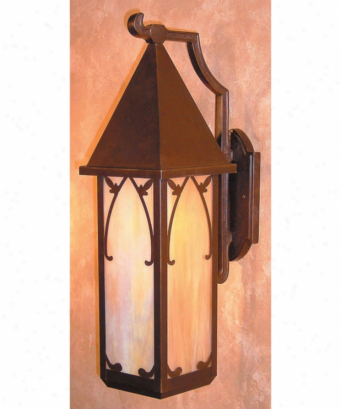 Arroyo Craftsman Sgb-10-gw-bz Saint George 1 Light Outdoor Wall Light In Bronze By the side of Gold White Iridescent Glass