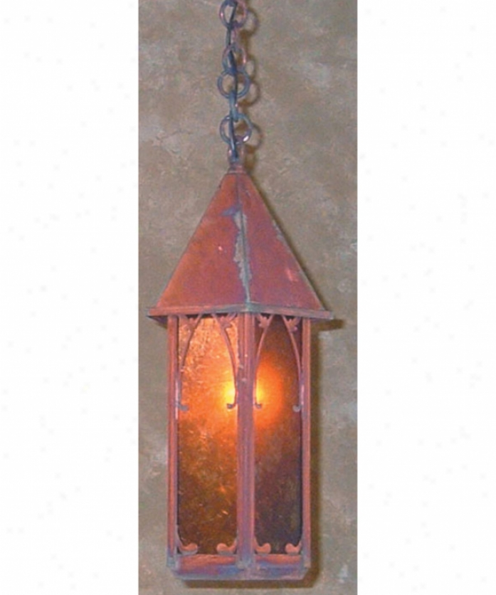 Arroyo Crafstman Sgh-7-wo-vp Saint George 1 Light Outdoor Hanging Lantern In Verdigris Patina With White Opalescent Glass