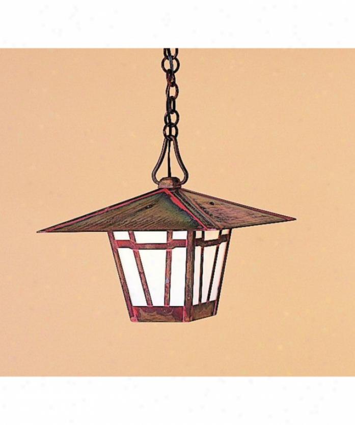 Arroyo Craftsman Wh-12-gw-bk Westmoreland 1 Illustration Otdoor Hanging Lantern In Satin Black Upon Gold White Iridescent Glass