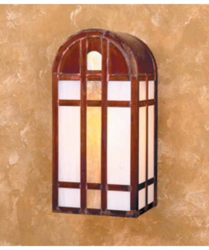 Arroyo Crafteman Yw-7-gwc-bz Yorktown 1 Light Outdoor Wall Light In Bronze With Gold White Iridescent-white Opalescent Combination Glass