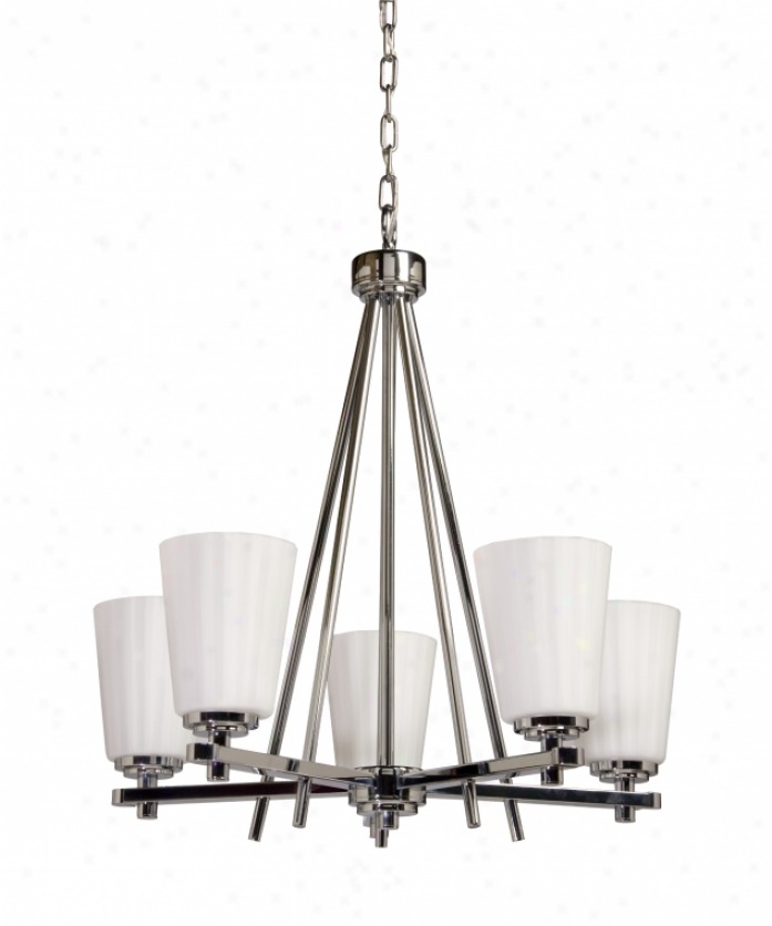 Artcraft Ac1275ch Raleigh 5 Light Snigle Tier Chandelier In Chrome With Satin Acid Frosted Reeded Glassware Glass