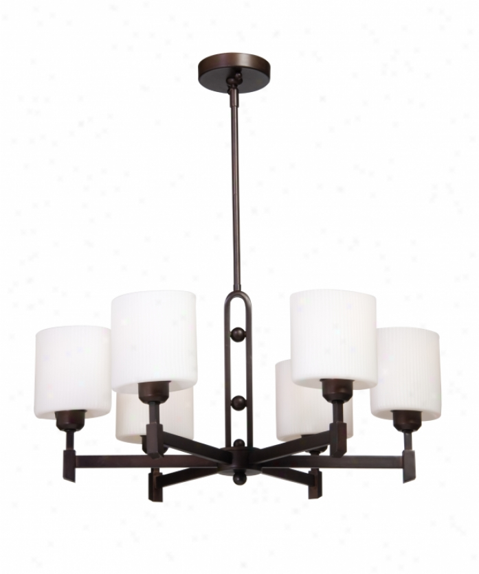 Artvraft Ac1336ob Bristol 6 Light Single Tier Chandelier In Hand Rubbed Oil Bronze With Oval  Opal And Ribbed Glass