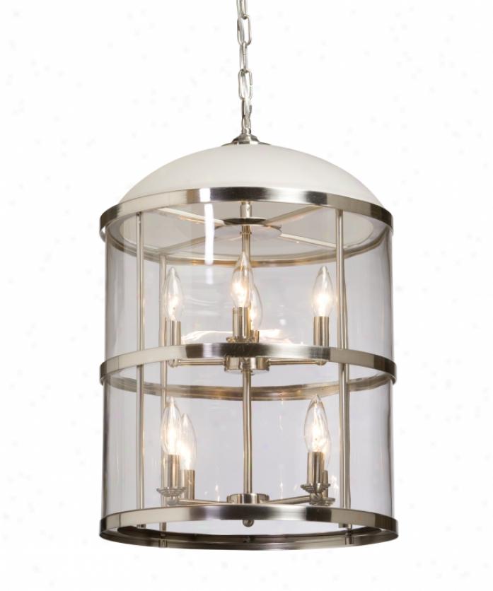 Artcraft Ac598 Poft Charlotte 8 Light Foyer Lantern In Polished Nickel Wkth Clear Cylindrical Glassware Glass
