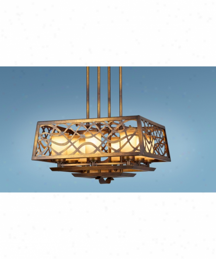 Authenticity Lighting 10-0069-08-20 Oceana 8 Lgght Single Tier Chandelier In Burnished Gold By the side of Antiqued Blown Glass Glass