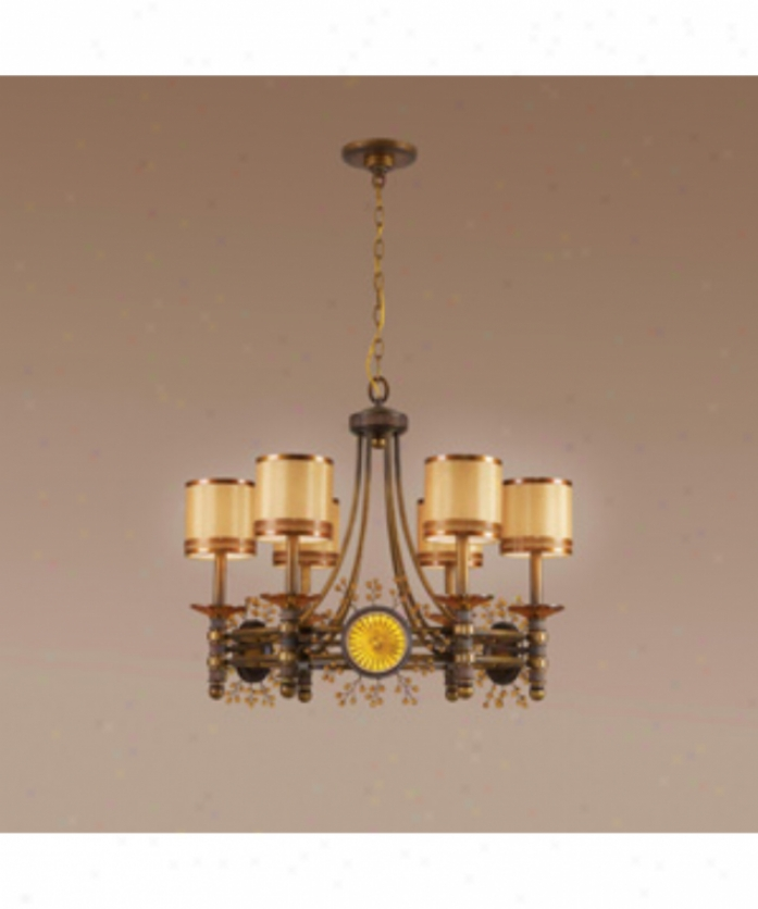 Authenticity Lighting 10-0077-06-20 Harvest 6 Light Single Tier Chandelier In Burnished Gold With Sun Kissed Amber Glass