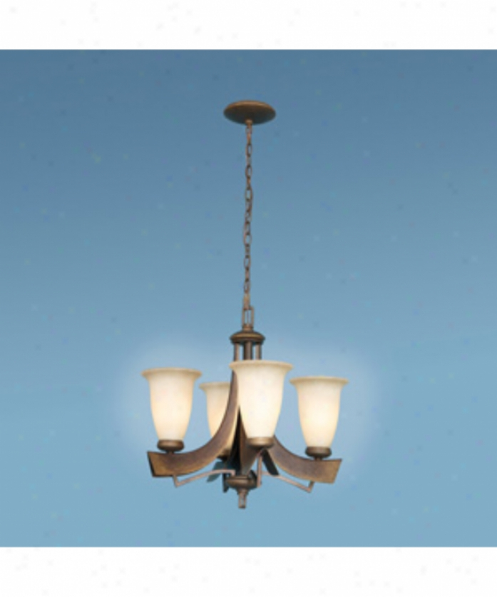 Authenticity Lihhting 10-0082-04-26 Iron Extended elevation 4 Light Single Tier Chandelier In Tuscan Bronze With Antique Sandblasted Glass