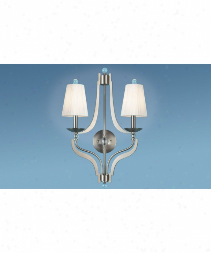 Authenticity Lighting 40-0004-02-04 Alta Nickel 2 Light Wall Sconce In Brushed Niciel With Mouth Blown Glass