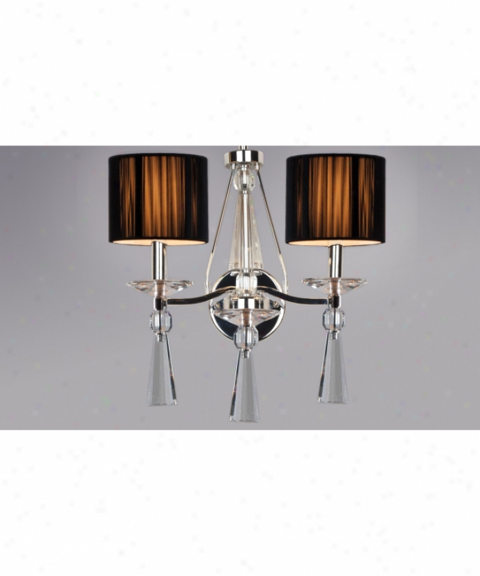 Authenticity Lighting 40-0008-02-06 Palladium Black 2 Lifht Wal Sconce In Polished Chrome With Optic Teardrops Crystal
