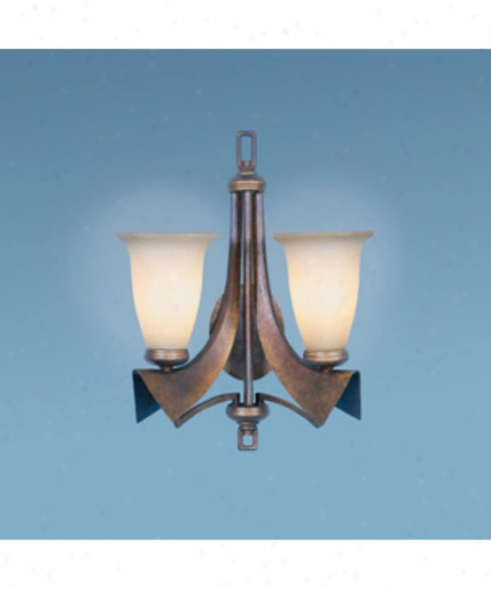 Authenticity Lighting 40-0038-02-26 Iron Ridge 2 Light Wall Sconce In Tuscan Bronze With Antique Sandblasted Glass
