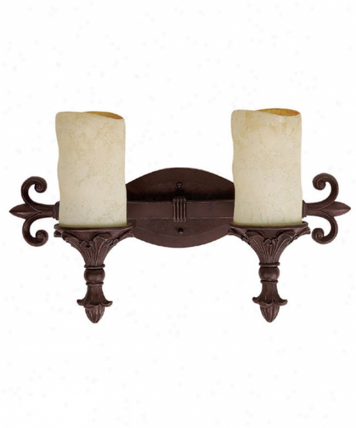 Capital Lighting 1402mbz-125 Mediterranean 2 Light Bath Vanity Light In Mediterranean Bronze With Rust Scavo Glass
