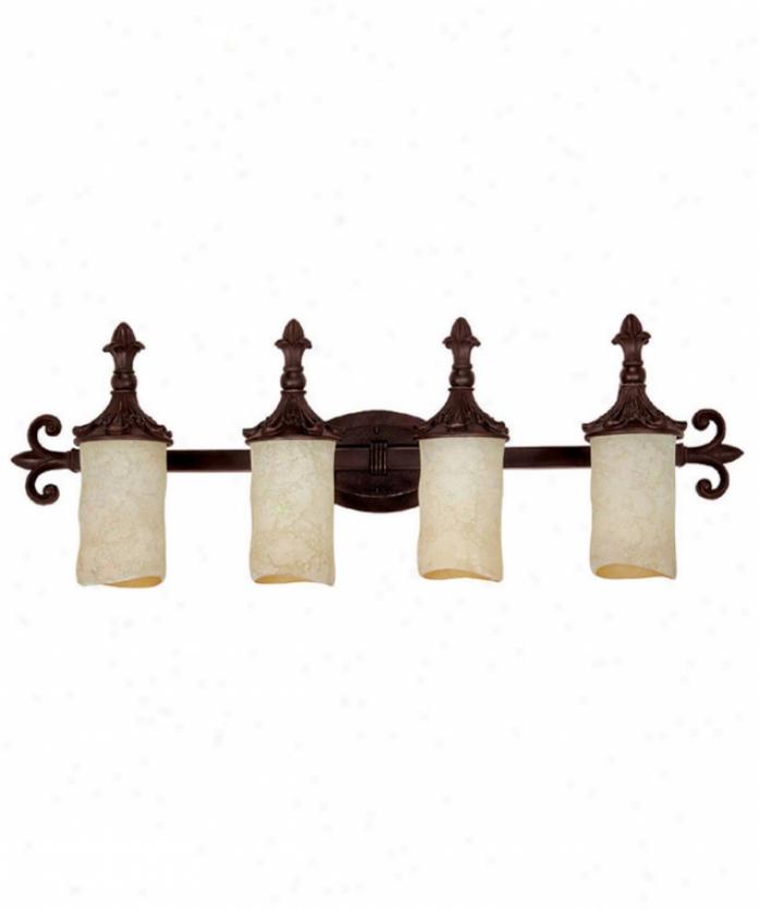 Capital Lighting 1044mbz-125 Mediterranean 4 Light Bath Vanity Light In Mediterrnaean Bronze With Rsut Scavo Glass
