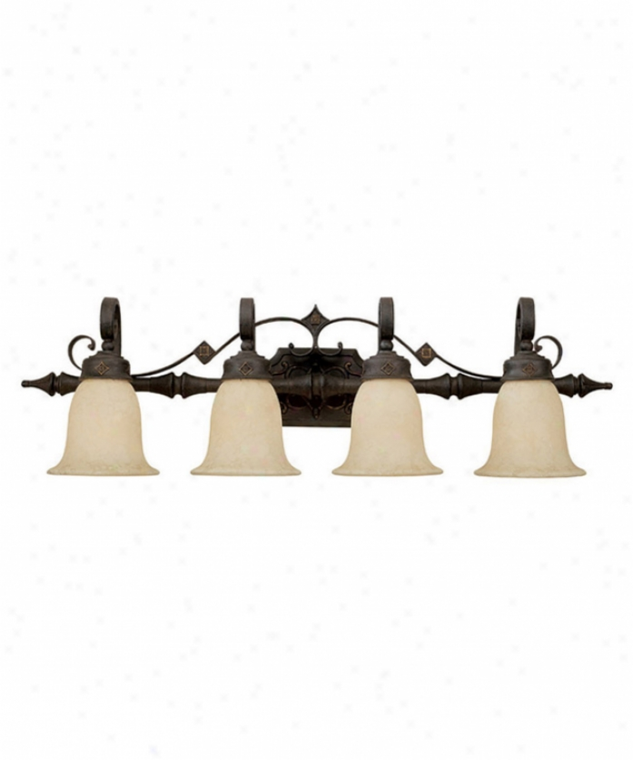 Capital Lighting 1904ri-294 River Crest 4 Light Bath Vanity Light In Rustic Iron With Flared Rust Scavo Glass