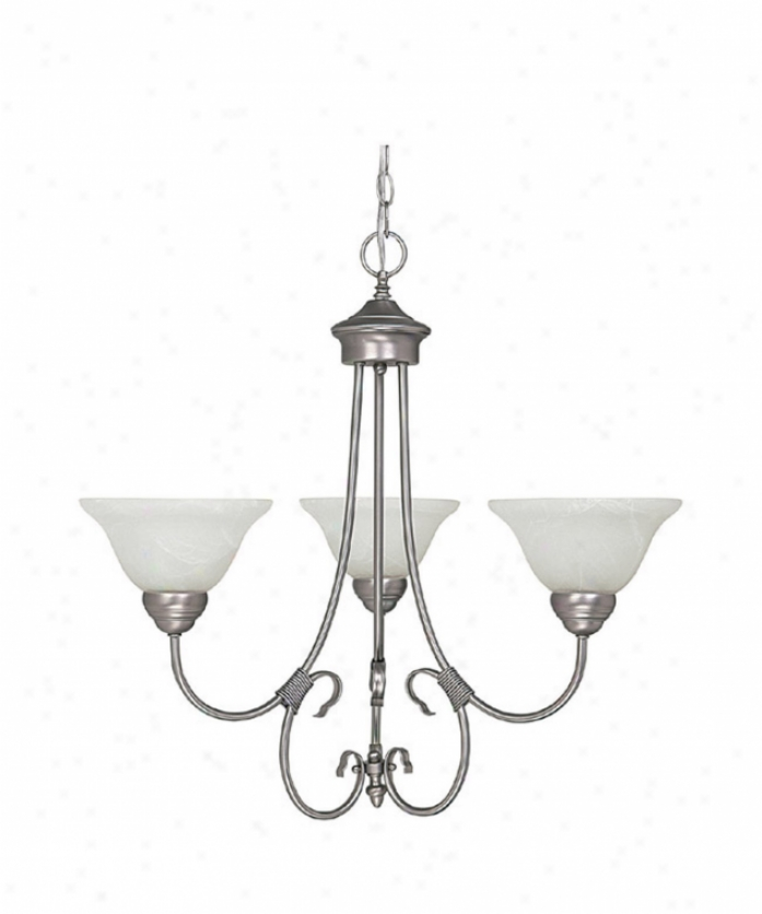 Capital Lighting 3223mn-220 Hometown 3 Light Alone Tier Chandelier In Matte Nickel With White Faux Alabaster Glass