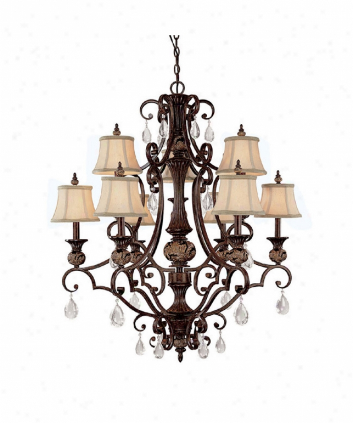 Capital Lighging 3529cb-440 Manchester 9 Easy  Two Tier Chandelier In Chesterfield Brown With Crystal Set Sold Separately Crystal