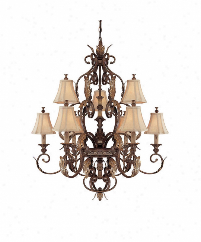 Calptal Lighting 3559ds-438 Grandview 9 Light Two Tier Chandelier In Dark Spice With Crystal Set Sold Separately Crystal