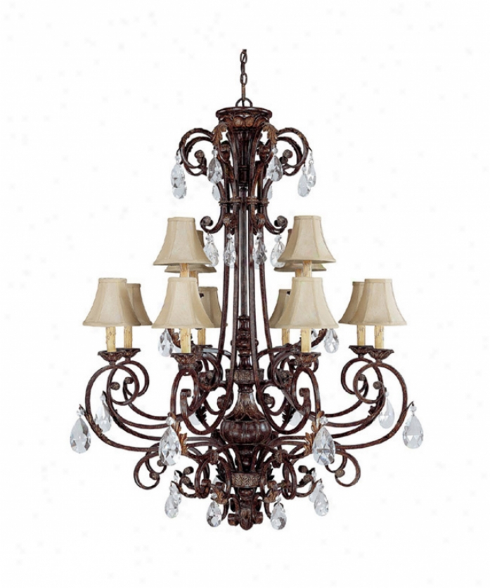 Capital Lighting 3682cb-413 Sheffield 12 Light Two Tier Chandelier In Chesterfield Brown With Crystal Set Sold Separately Crystal